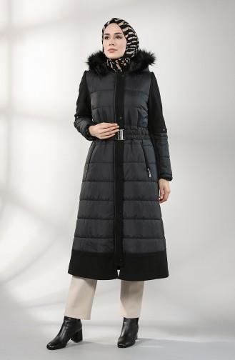 Fur Belted quilted Coat 4055-02 Black 4055-02