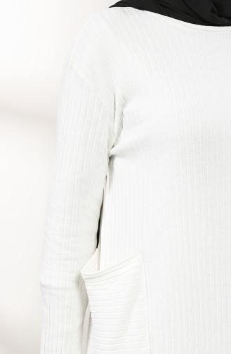 Cepli Tunik Pantolon İkili Takım 8154-04 Ekru