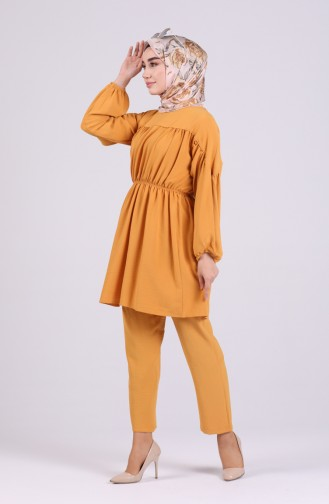 Ruffled Tunic Trousers Double Suit 1067-02 Mustard 1067-02
