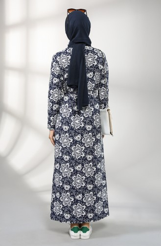 Dunkelblau Hijap Kleider 1020-01