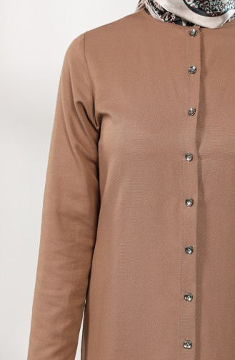Buttoned Dress with Pleated Skirt 3201-01 Camel 3201-01