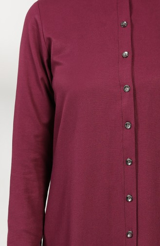 Buttoned Dress with Pleated Skirt 3201-02 Damson 3201-02