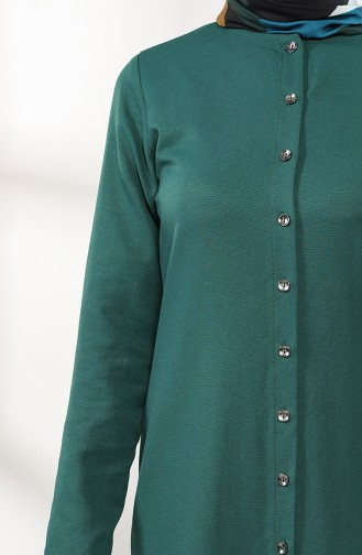 Buttoned Dress with Pleated Skirt 3201-04 Emerald Green 3201-04
