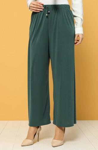 Modal Kumaş Beli Lastikli Pantolon 1317-02 Yeşil