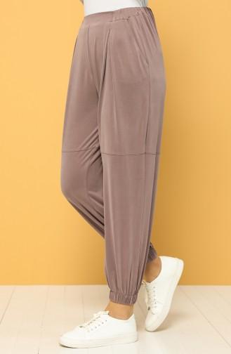 Modal Kumaş Lastikli Pantolon 2185-05 Gül Kurusu
