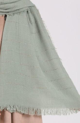 Çizgili Yün Triko Omuz ve Boyun Şalı 43400-11 Su Yeşili
