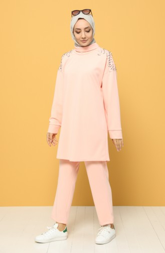 Stone Printed Tunic Trousers Double Suit 0930-02 Pink 0930-02