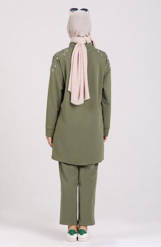 Stone Printed Tunic Trousers Double Suit 0930-05 Khaki 0930-05