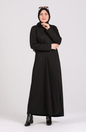 Büyük Beden Düz Elbise 4739-01 Siyah