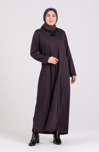 Büyük Beden Düz Elbise 4739-03 Mor