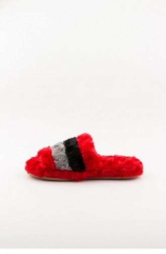 Red Woman home slippers 3577.MM KIRMIZI-GRI