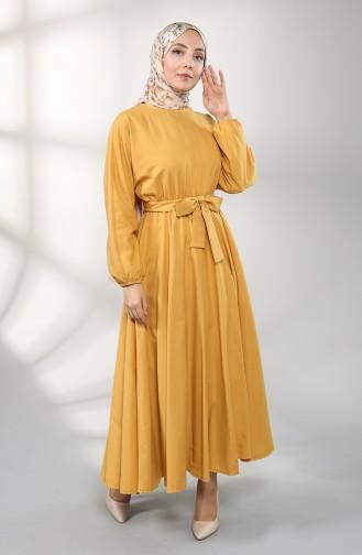 Elastic Sleeve Belted Dress 5177-01 Mustard 5177-01