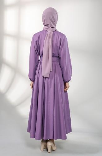 Elastic Sleeve Belted Dress 5177-04 Purple 5177-04