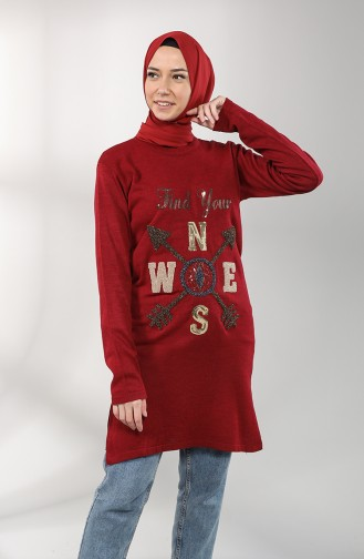 Knitwear Sequin Tunic 55222c-04 Claret Red 55222C-04