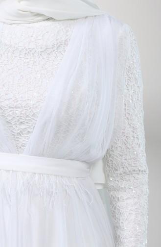 Tüylü Abiye Elbise 5357-09 Beyaz