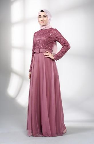 Beige-Rose Hijab-Abendkleider 5353-01