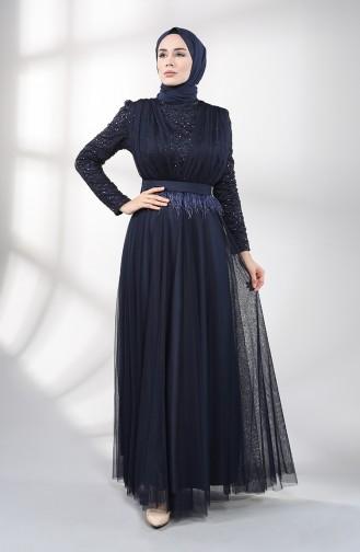 فساتين سهرة بتصميم اسلامي أزرق كحلي 5357-03