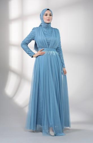 فساتين سهرة بتصميم اسلامي أزرق 5357-02