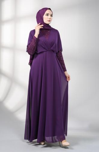 Sequined Chiffon Evening Dress 5399-01 Purple 5399-01