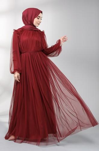 Weinrot Hijab-Abendkleider 5400-03