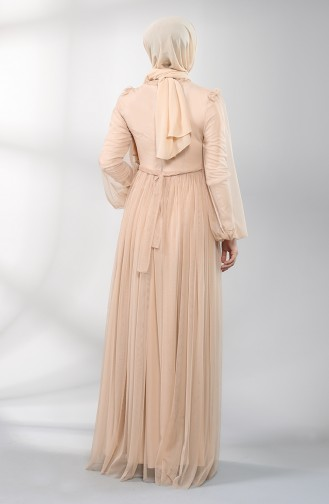Beige Islamic Clothing Evening Dress 5400-08