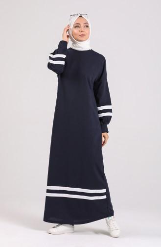 Navy Blue İslamitische Jurk 1002-03
