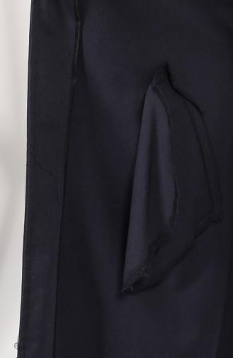 Trench Coat Bleu Marine Foncé 1236-01