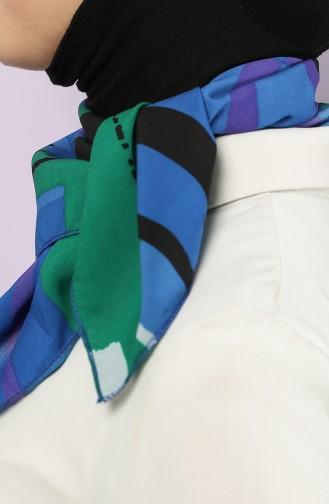 Desenli Şifon Fular 61768-01 Saks Yeşil