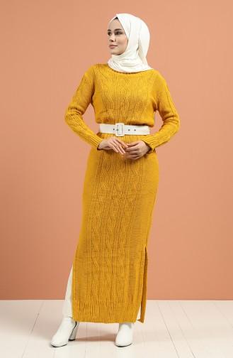Mustard İslamitische Jurk 1180 -04