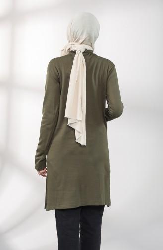 Knitwear Embroidered Tunic 55222E-02 Khaki 55222E-02