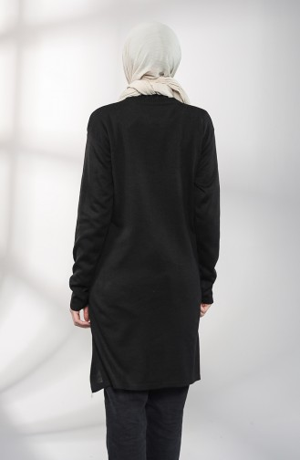 Triko Nakışlı Tunik 55222E-07 Siyah