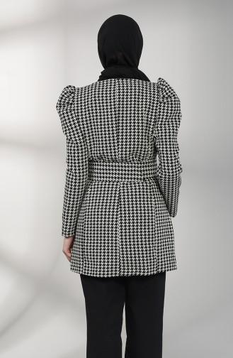 Kazayağı Desenli Ceket 1726-01 Siyah Beyaz