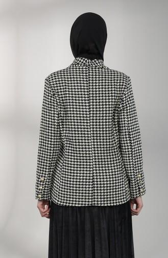 Kazayağı Desenli Ceket 1728-01 Siyah Beyaz 1728-01