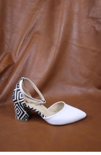 Desenli Topuklu Ayakkabı Brlerz00428 Beyazcılt