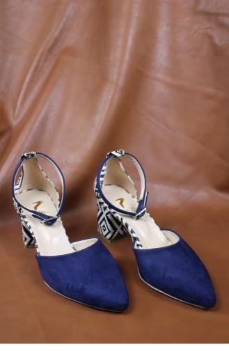 Desenli Topuklu Ayakkabı Brlerz00428 Lacıvertsuet