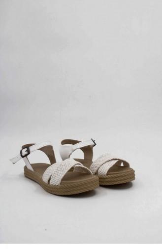 White Summer Sandals 00024.BEYAZ