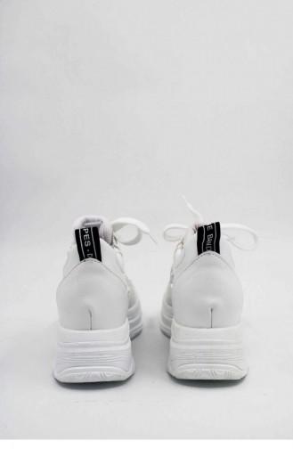 Chaussures Baskets Blanc 00028.BEYAZ