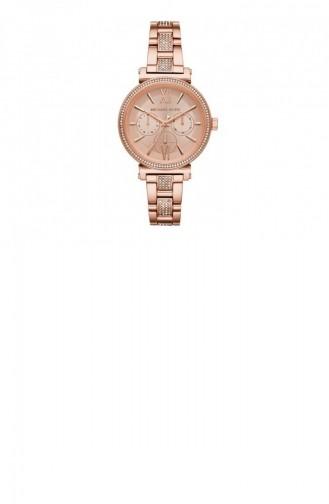 Rose Tan Wrist Watch 4354