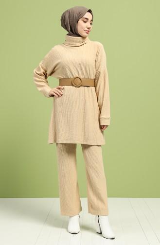 Yarasa Kol Tunik Pantolon İkili Takım 20071-04 Bej