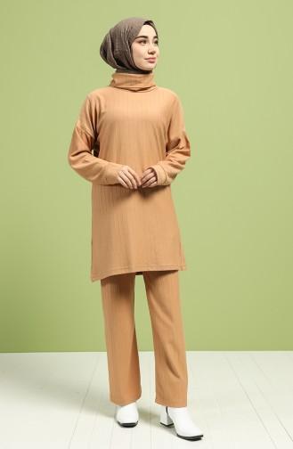 Turtleneck Tunic Pants Double Suit 20072-03 Milk Coffee 20072-03