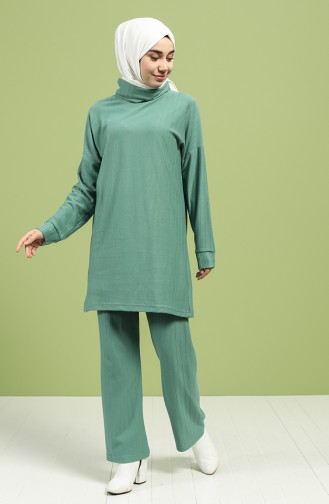 Turtleneck Tunic Pants Double Suit 20072-06 Sea Green 20072-06
