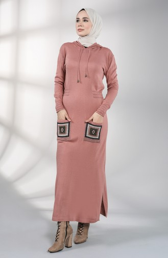 Robe Hijab Rose Pâle 6002-04