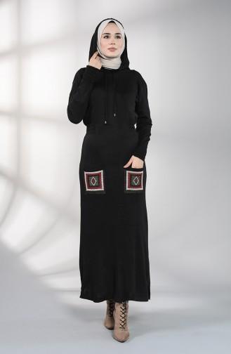 Triko Nakışlı Cepli Elbise 6002-08 Siyah