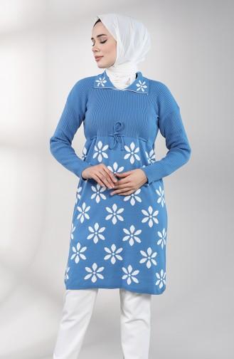 Triko Uzun Tunik 0083-04 Mavi