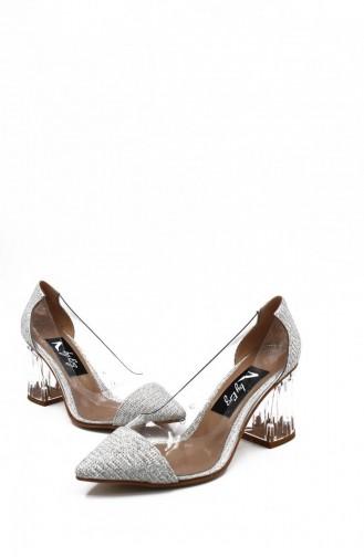 Silver Gray High-Heel Shoes 00258.GUMUS