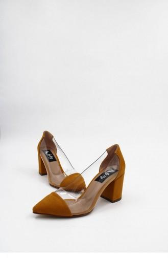 Şeffaf Kalın Topuklu  Ayakkabı Brlerz00176 Hardal