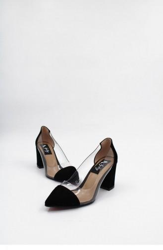 Şeffaf Kalın Topuklu Ayakkabı Brlerz00176 Sıyahsuet