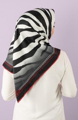 Zebra Desen Twill Eşarp 70171-02 Siyah Kırmızı 70171-02