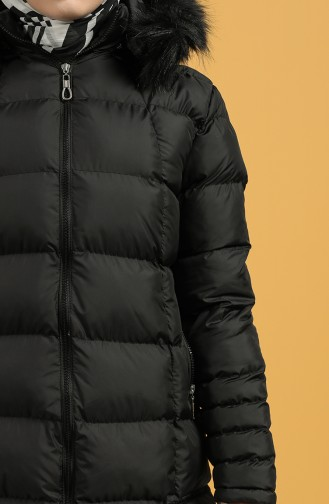Zippered quilted Coat 1483-01 Black 1483-01