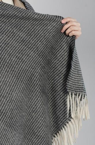 Kışlık Çizgili Kaşmir Şal 42100-01 Siyah